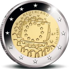 30 лет флагу Евросоюза 2 евро Нидерланды 2015