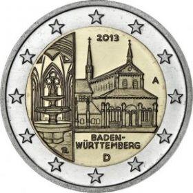 Баден-Вюртемберг (Монастырь Маульбронн) 2 евро 2013 монетный двор на выбор