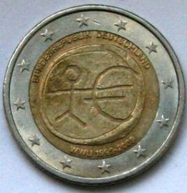 10 ЛЕТ ВВЕДЕНИЯ ЕВРО  2 евро Германия   2009 Монетный двор G