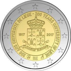 200 лет со дня основания университета Льежа  2 евро Бельгия 2017 BU ДВА ВАРИАНТА УПАКОВКИ