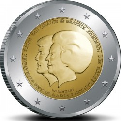 Королева Беатрикс и наследный принц Виллем Александр 2 евро Нидерланды 2013